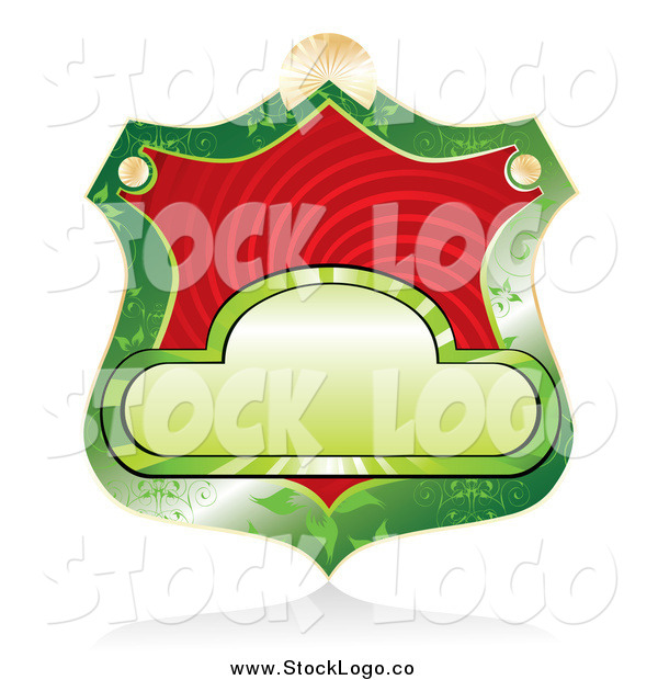 Vector Clipart of a Blank Green Shield Label with Red Swirls