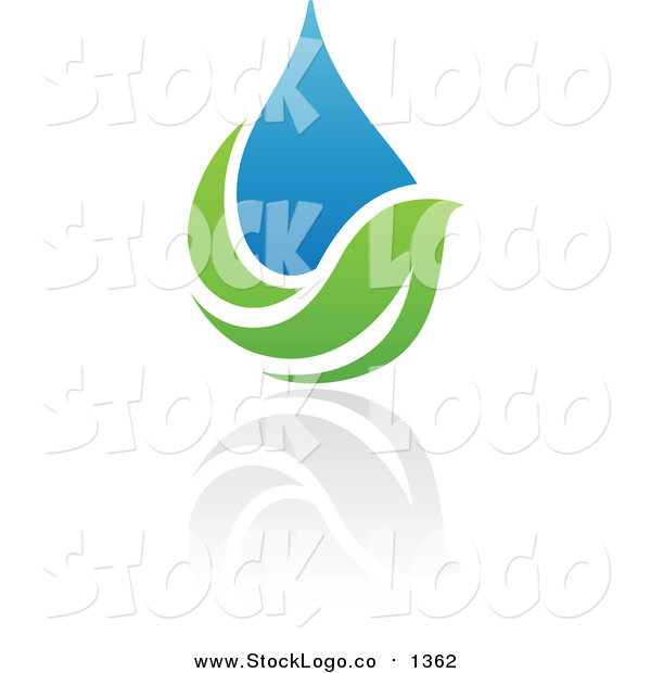Vector Clipart of a Blue and Green Organic and Ecology Water Drop and Leaf Logo