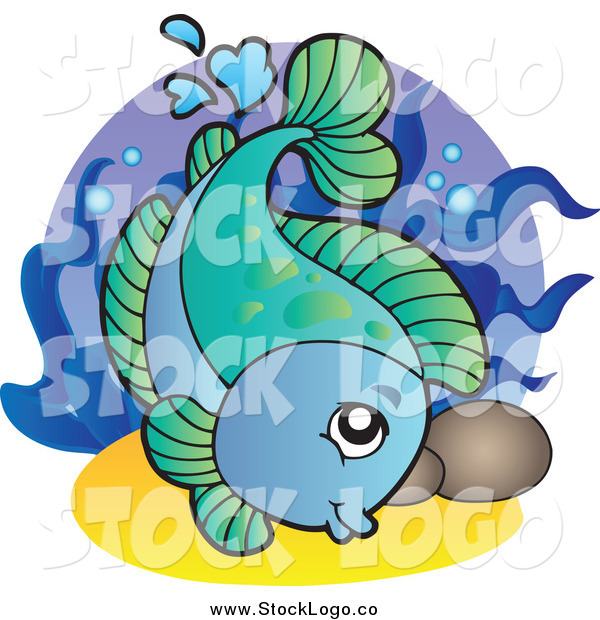 Vector Clipart of a Blue and Green Swimming Freshwater Fish