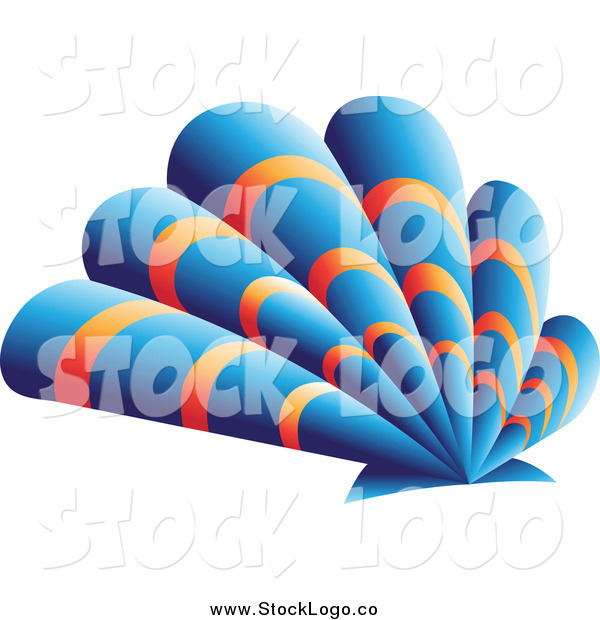 Vector Clipart of a Blue and Orange Scallop Shell Logo