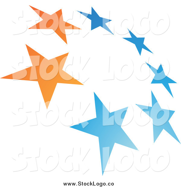 Vector Clipart of a Blue and Orange Tilted Circle of Stars Logo