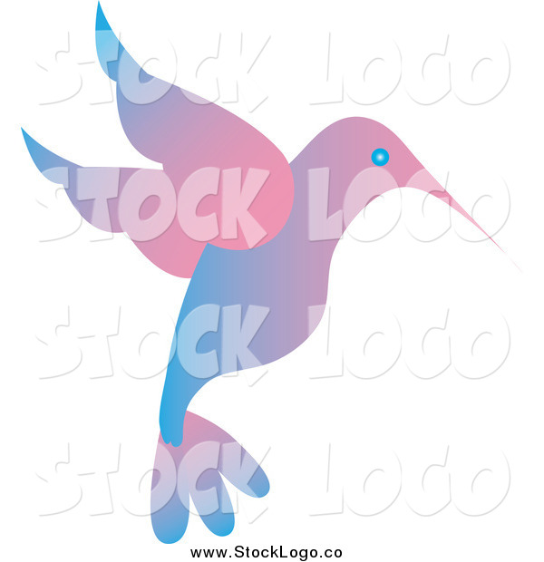 Vector Clipart of a Blue and Pink Gradient Hummingbird Logo