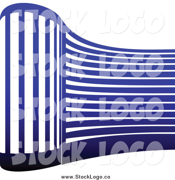 Vector Clipart of a Blue Curved Skyscraper Logo