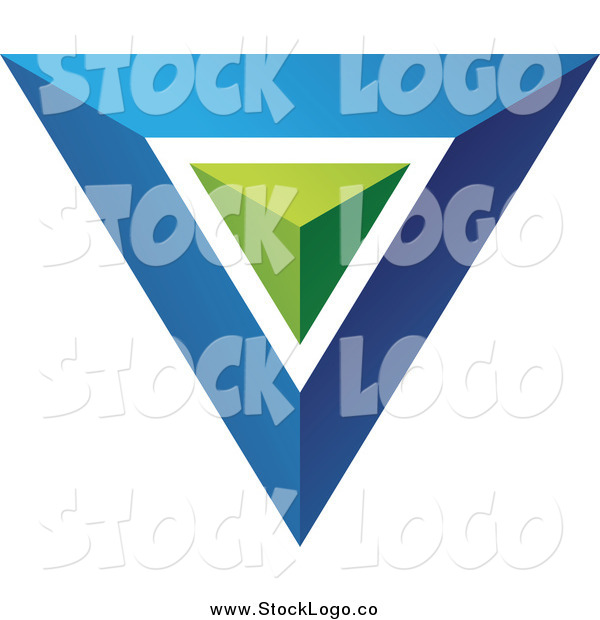Vector Clipart of a Blue Triangle or Pyramid Logo with a Green Center