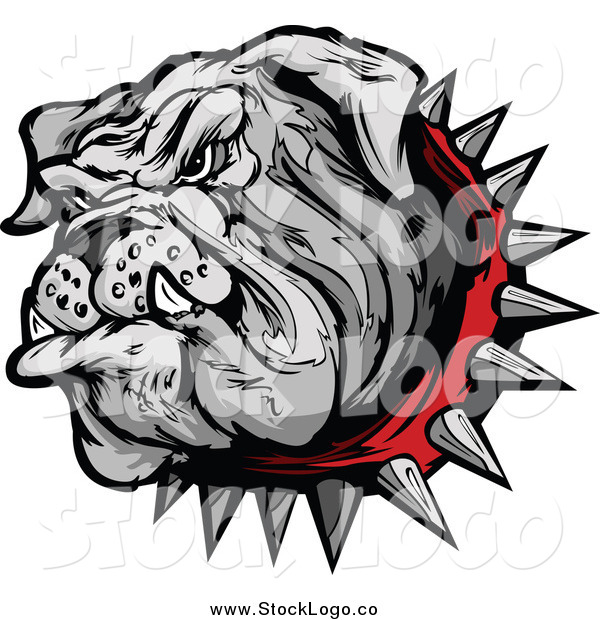 Vector Clipart of a Bulldog Head with a Spiked Red Collar Logo