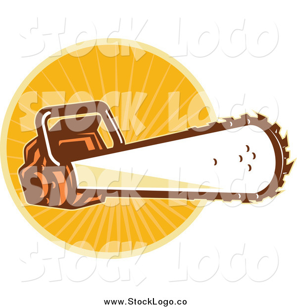 Vector Clipart of a Chainsaw over Orange Rays Logo