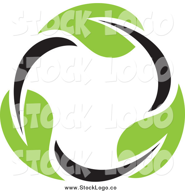 Vector Clipart of a Circle of a Seedling Plant Leaves Logo