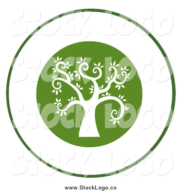 Vector Clipart of a Curly Branched White Tree on a Green Logo