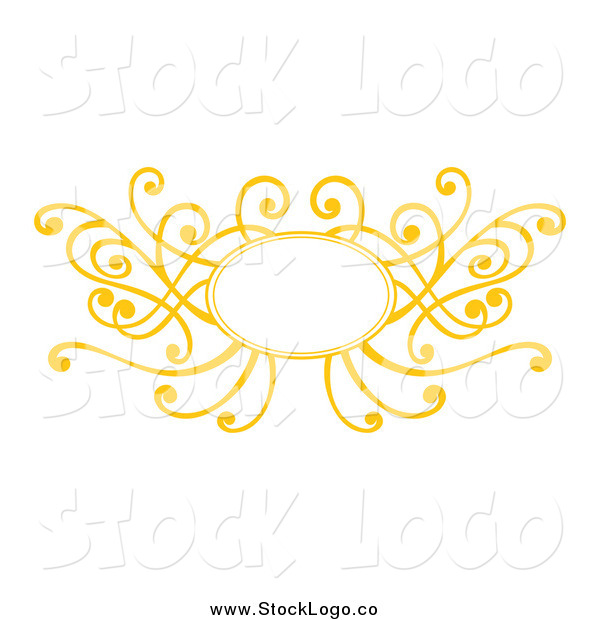 Vector Clipart of a Decorative Yellow Swirl Frame Logo