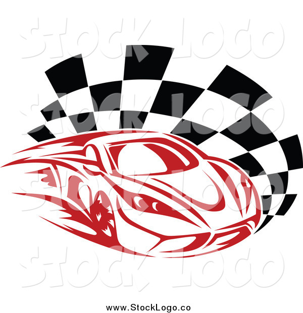 Vector Clipart Of A Fast Red Race Car And Checkered Flag Motorsports Logo