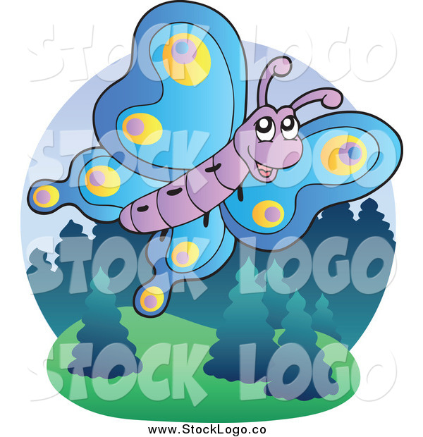 Vector Clipart of a Flying Happy Butterfly Logo