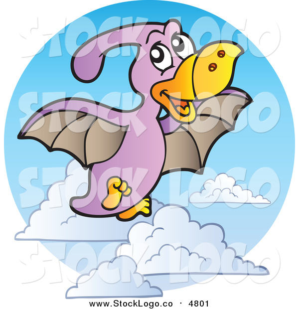 Vector Clipart of a Flying Purple Pterodactyl Logo