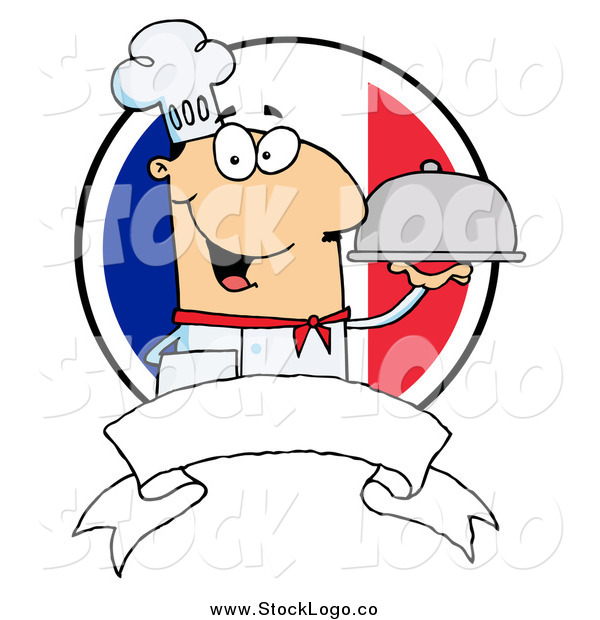 Vector Clipart of a Friendly White Male Chef Holding a Platter over a Blank Banner and Round French Flag