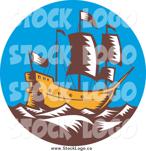 Vector Clipart of a Galleon Ship at Sea
