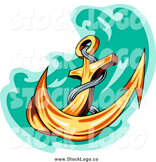 Vector Clipart of a Gold Anchor and Green Water