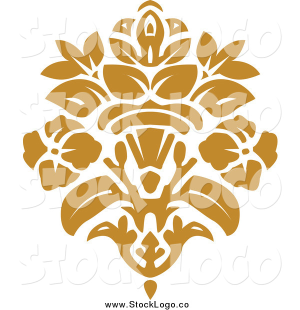 Vector Clipart of a Gold Damask Logo