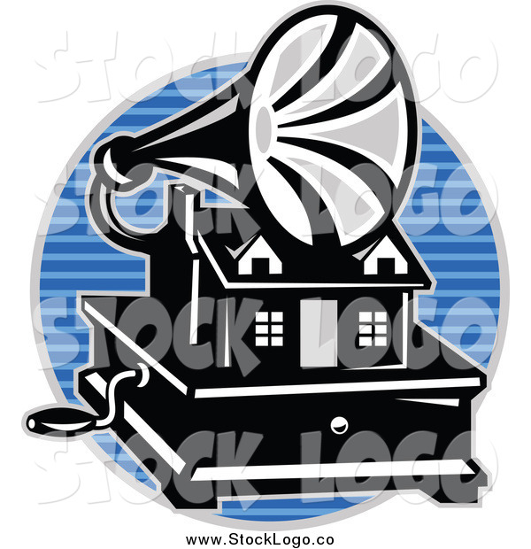 Vector Clipart of a Gramaphone over a Blue Lined Circle Logo