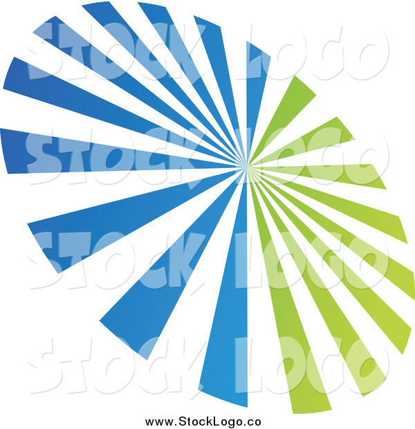 Vector Clipart of a Green and Blue Ray Burst Logo