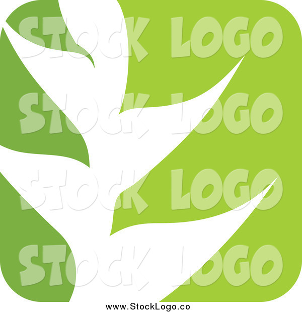 Vector Clipart of a Green and White Nature Leaf Logo