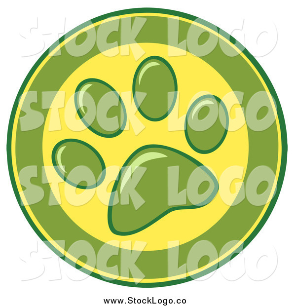 Vector Clipart of a Green and Yellow Dog Paw Print Logo