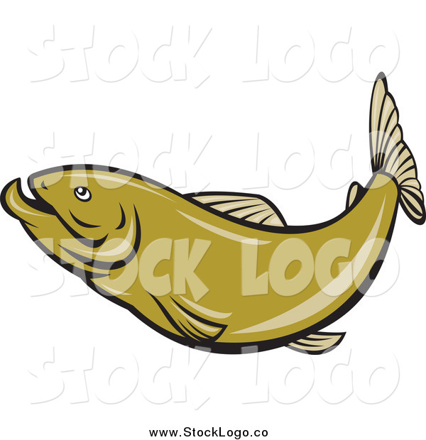Vector Clipart of a Green Herring Fish Logo
