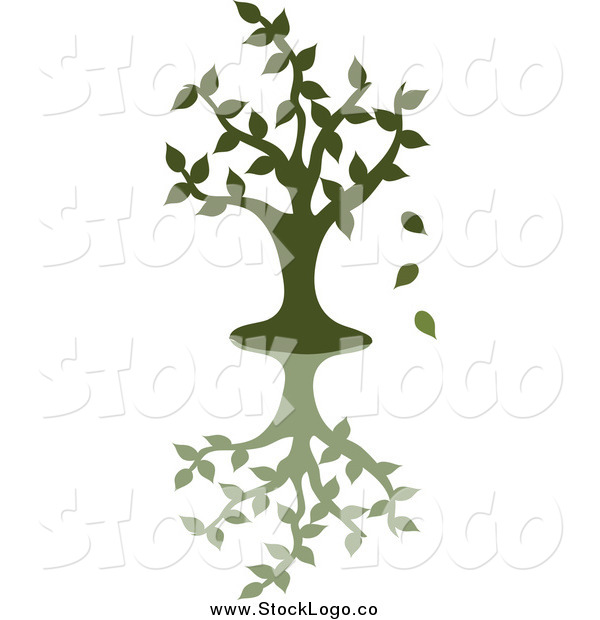 Vector Clipart of a Green Silhouetted Tree Dropping Leaves, with a Shadow