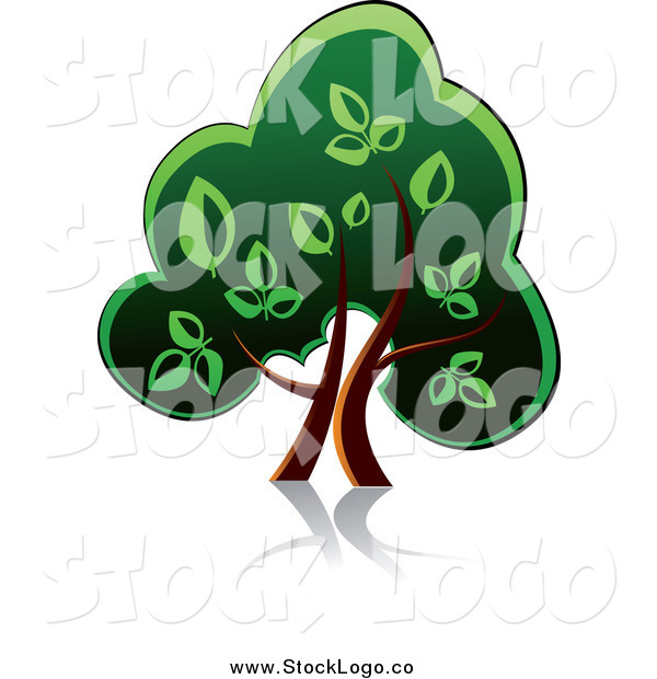Vector Clipart of a Green Tree with a Reflection Logo