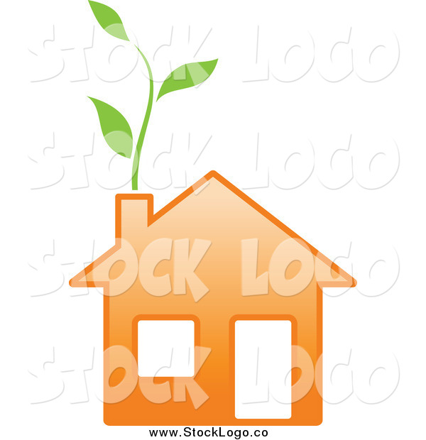 Vector Clipart of a Green Vine Growing from an Eco Orange Home