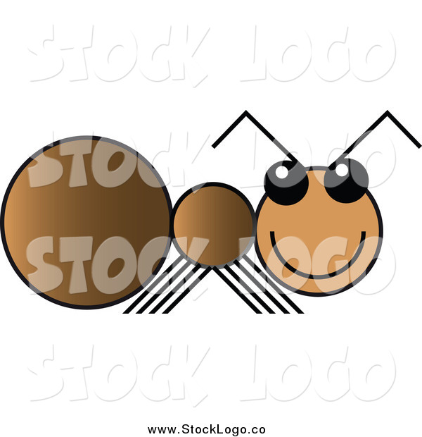 Vector Clipart of a Happy Brown Ant Logo
