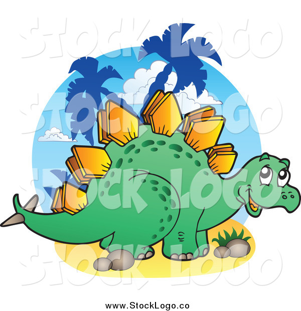 Vector Clipart of a Happy Green Stegosaur Logo