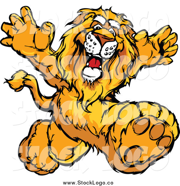 Vector Clipart of a Happy Lion Mascot Running Upright
