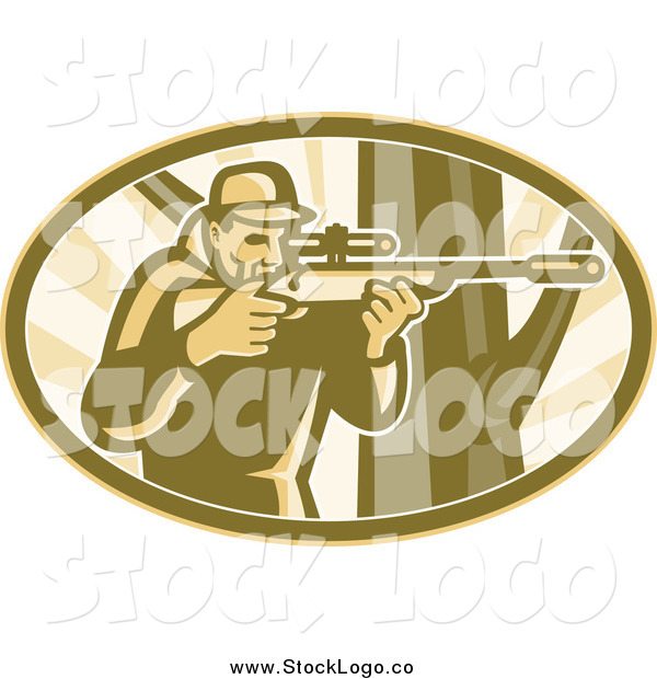 Vector Clipart of a Hunter Aiming a Telescope Rifle by a Tree in an Oval Logo