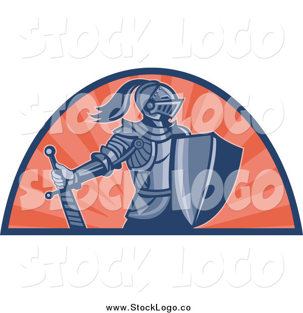 Vector Clipart of a Knight with Shield and Sword and Orange Rays Logo