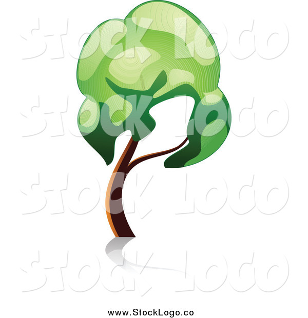 Vector Clipart of a Leaning Gree Tree Logo