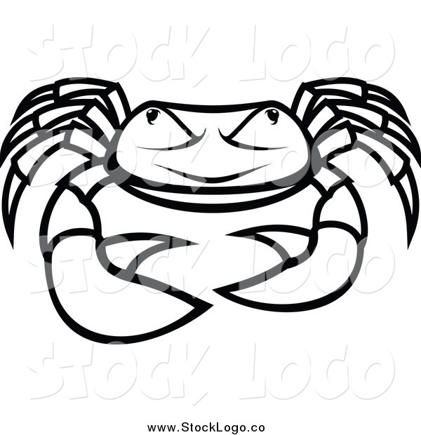 Vector Clipart of a Logo of a Black and White Grumpy Crab