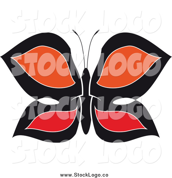 Vector Clipart of a Logo of a Black, Red and Orange Butterfly