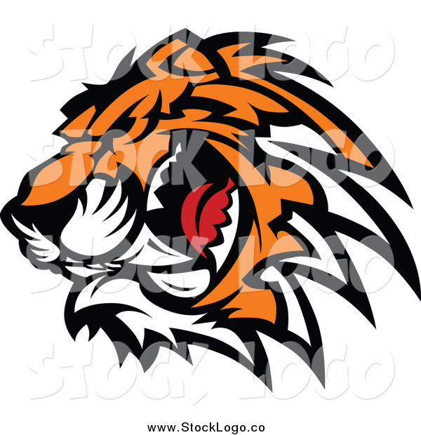 Vector Clipart of a Logo of a Ferocious Growling Tiger Head