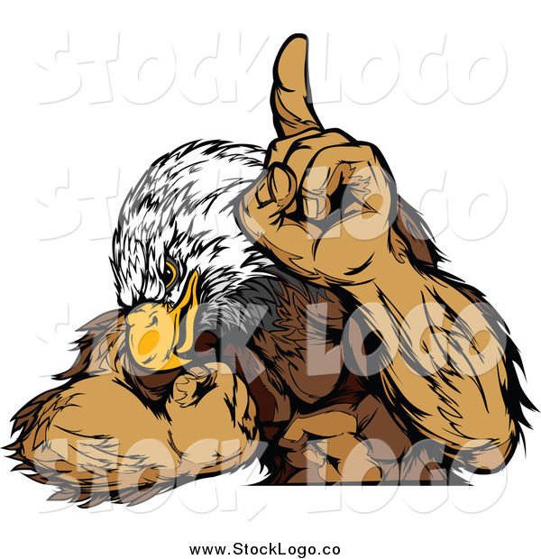 Vector Clipart of a Logo of a Muscular Bald Eagle Champion Flexing
