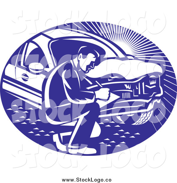 Vector Clipart of a Logo of a Retro Insurance Adjuster Crouching by a Damaged Car
