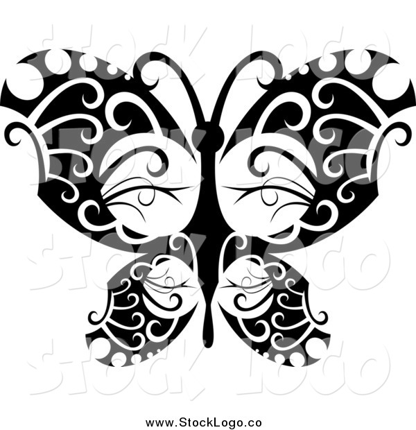 Vector Clipart of a Logo of a Tribal Black and White Butterfly