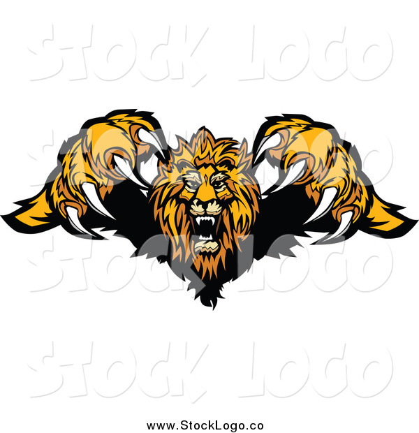 Vector Clipart of a Logo of an Attacking Lion Jumping Forward with Sharp Claws