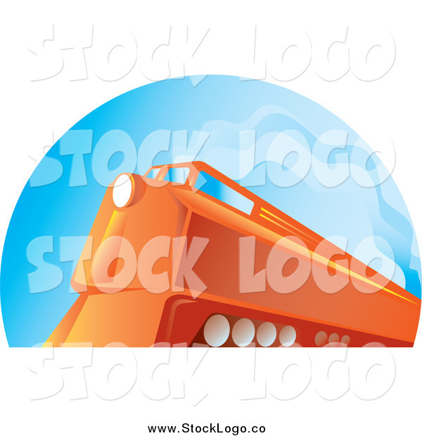 Vector Clipart of a Logo of an Orange Diesel Train