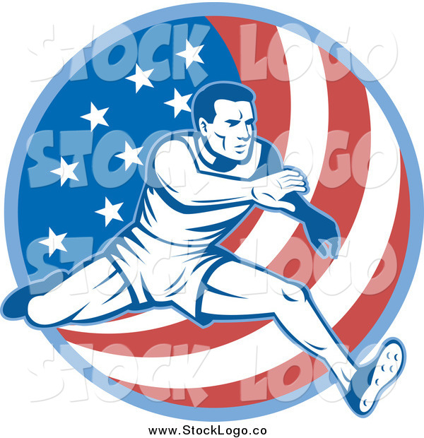 Vector Clipart of a Male Athlete Running over an American Flag Circle Logo