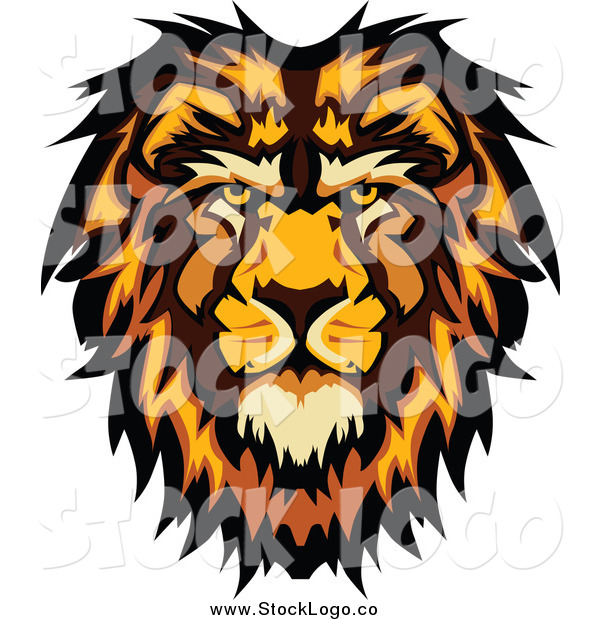 Vector Clipart of a Male Lion Face Logo