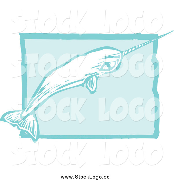Vector Clipart of a Narwhal and Blue Rectangle Logo