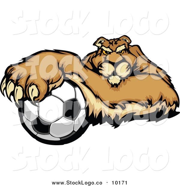Vector Clipart of a Puma Cougar Mountain Lion Resting One Paw on a Soccer Ball