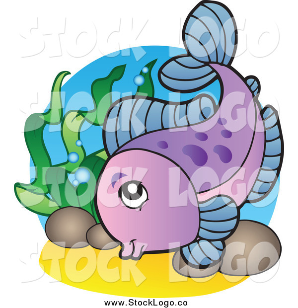 Vector Clipart of a Purple Freshwater Fish and Plants