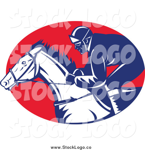 Vector Clipart of a Racing Jockey and Horse Logo