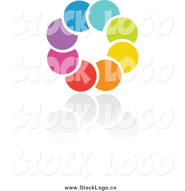 Vector Clipart of a Rainbow Circle and Reflection Logo
