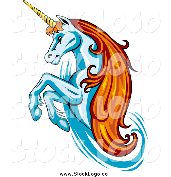Vector Clipart of a Rearing Unicorn Logo